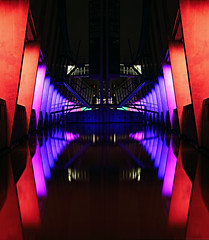 Reflected Colors (DolliaSH) Tags: city longexposure trip travel light vacation urban holiday holland color tourism colors architecture night canon reflections photography lights noche photo rotterdam topf50 europe foto tour place nightshot photos nacht nederland thenetherlands visit location tourist illuminated explore le journey destination traveling visiting nuit notte touring nai stad noch zuidholland 1755 southholland explored nachtopname nederlandsarchitectuurinstituut canonefs1755mmf28isusm canoneos50d dutcharchitectureinstitute dollia dollias sheombar dolliash