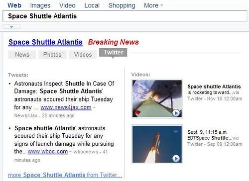 Yahoo! Search News Shortcut - Twitter tab