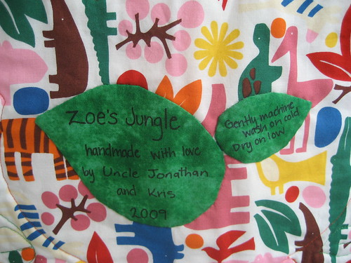 Zoe's Jungle Quilt - label
