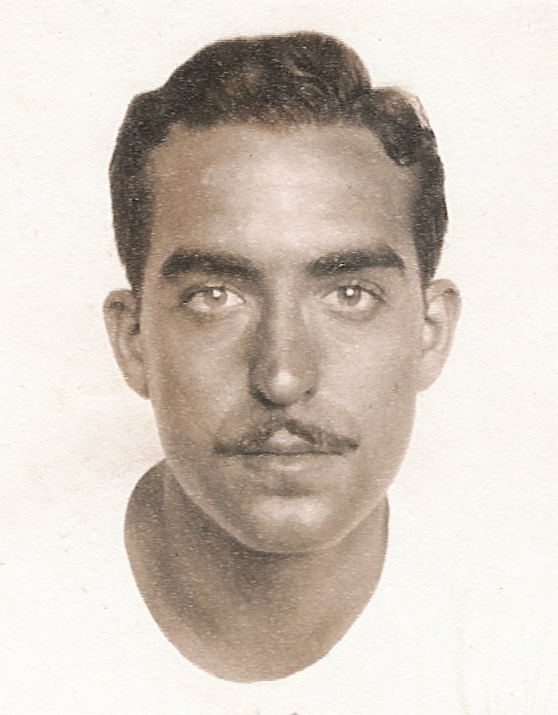 Rogelio Alberto Casas - Hawaii 1945 - Portrait in T-Shirt Without Glasses - Tanned - Cropped to Headshot