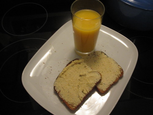 Tofu spread toast and OJ