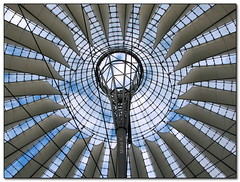 Sony Center, Berlin (Mike G. K.) Tags: roof sky berlin lines architecture clouds germany geotagged cone geometry circles round sonycenter hightech futuristic wireframe potsdammerplatz mywinners geo:lon=13373462 geo:lat=5250993