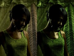 Lady Luck Before & After (dajizzle) Tags: shadow portrait woman black green beautiful lady female photoshop dark thought deep before luck after retouch ebony