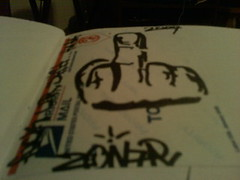 ZONAR F**K U (frank_760) Tags: black graffiti book stencil sticker mail tags graff slaps zonar