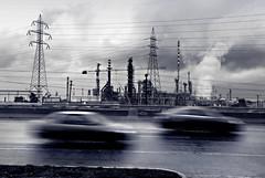 Acid Run Away (tSos Greq) Tags: white black cars clouds smog highway industrial factory motorway photos smoke acid athens greece atenas pollution change environment threat autovia climatic petrola agioitheodoroi  kakiaskala