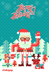 Merry Christmas! (Chobopop) Tags: santa snowflake christmas new xmas trees holiday geometric illustration triangles happy graphics holidays year hipster pug noel gifts merry feliz claus pere vector karcsony joyeux mikuls navdad chobopop