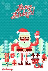 Merry Christmas! (Chobopop) Tags: santa snowflake christmas new xmas trees holiday geometric illustration triangles happy graphics holidays year hipster pug noel gifts merry feliz claus pere vector karcsony joyeux mikuls navdad chobopop