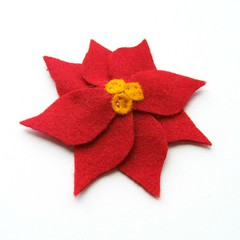Poinsettia Felt Hair Clip (Clara Clips) Tags: christmas red holiday toronto ontario canada flower kids children poinsettia canadian accessories etsy barrette accessory artfire etsykids seasonalfelthairclipswoolclaraclipsclarahandmadehandstitchedhandcuthandcraftedlittlebabygirltoddlersmallnoslip