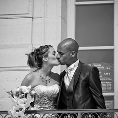 You may now kiss the bride (Alexander Ipfelkofer) Tags: park wedding portrait blackandwhite castle public square french groom bride kiss couple candid marriage sceaux usereflectorsforbetterweddingphotos gifrancefeb12