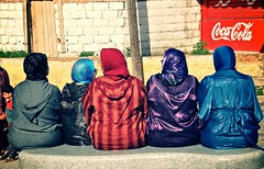 Five Ladies (AngelKwan32) Tags: africa ladies bench five morocco fez crossprocessing medina leisure resting backs oldcity fes bluegate moroccans nikond90 babboujloud 1685mmvr