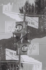 Twedes Cafe Sign Multiple Exposure (goodfella2459) Tags: nikon f65 ilford pan f plus 50 35mm black white film analog twedes cafe sign multiple exposure north bend rr diner twin peaks david lynch mark frost bwfp milf