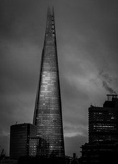 Shard - Explored (Matthew Johnson1) Tags: london shard blackandwhite bw 2016 fog workers lights sunshine illumination