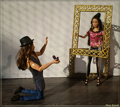 Perfect Picture Cycle 5 - Round 1: Photo Within a Photo (barbie for Mary) Tags: barbie mattel fashion photographer muse model katniss jacksparrow thehungergames topmodelsummer fashionistas fashiondoll doll thelook gold camera pink photo photoshoot perfect picture contest johnnydepp jenniferlawrence