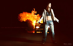 We gonna Burn you Down (Nika Fadul) Tags: street girl car dark fire explosion belly burn hiphop kev rapper onfire mnicafadul nikafadul
