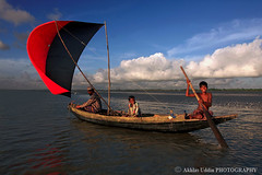KUAKATA, BANGLADESH (akhlas_viewfinder) Tags: blue red sea summer sky people seascape boat fishing fisherman peoples bangladesh bayofbengal kuakata mdakhlasuddin