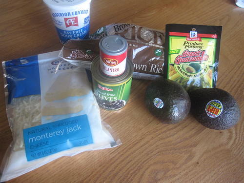 Ingredients for vegetarian burrito bowls
