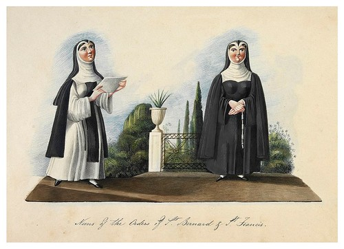 002- Monjas de la orden de San Bernardo y San Francisco-Picturesque review of the costume of the portuguese 1836