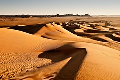 2 days left for the Sahara (dani.Co) Tags: africa orange hot sahara yellow sunrise dawn algeria sand nikon holidays waves shadows desert dunes dune dry arena explore amanecer amarillo desierto d200 frontpage naranja vacaciones argelia explored danico