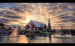 Mariners | Irvine, CA (isayx3) Tags: california sunset sun lake church fountain nikon glare 5 chapel mariners handheld nikkor studios 1224mm f4 hdr irvine d3 exposures plainjoe isayx3
