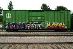 PUNOE FART ANUS (TRUE 2 DEATH) Tags: california railroad streetart art train graffiti tag graf traintracks trains railcar fart spraypaint boxcar railways anus railfan freight puno freighttrain rollingstock pbk pone pvs knd benching freighttraingraffiti punoe