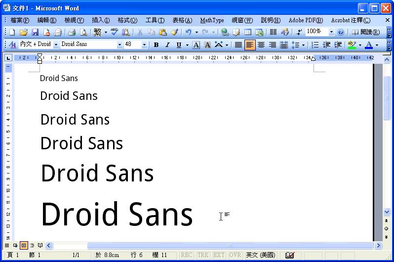 MS Word vs Droid Sans Font