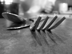 Behind the Fork (fotoJENica) Tags: shadow dinner restaurant fork