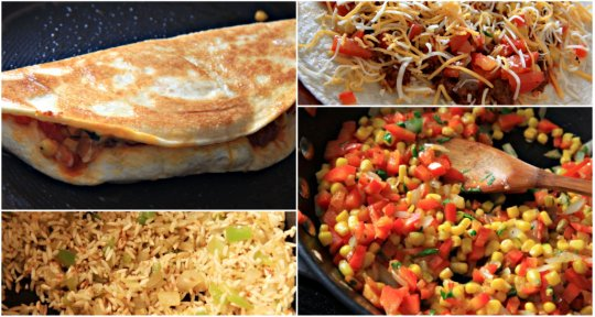 Chorizo, Corn & Red Pepper Quesadillas