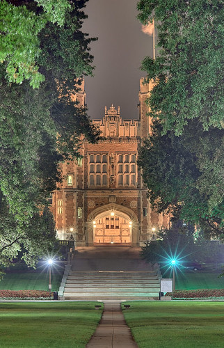 Washington University, in Saint Louis, Missouri, USA - Brookings Hall at night