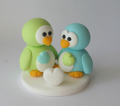 Penguin Love (fliepsiebieps1) Tags: love penguin heart handmade limegreen romance polymerclay fimo caketopper custom figurine tiffanyblue