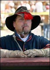 Union Artilleryman With Pipe (greenthumb_38) Tags: hat beard soldier war pipe smoking civil gloves civilwar troops reenactor civilwarreenactment jeffreybass