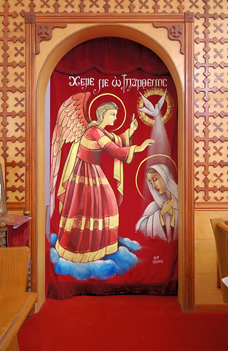 Saint Mary and Saint Abraam Coptic Orthodox Church, in Saint Louis County, Missouri, USA - men's door to sanctuary