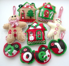 christmas is coming! (heartfelthandmade) Tags: christmas decorations red white green robin handmade felt ornaments gingerbreadman redbreast candyhouse littlehouses christmascottage