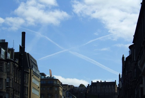 the Castle, the sky, the Saltire