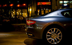 Maserati Gran Turismo (DodogoeSLR) Tags: plaza wood blue light car shopping back nikon girlfriend dof power ride bokeh restaurants handheld santanarow nikkor christmastreelighting rims horsepower nojoke overpricedfood 35mmf18 businessend hbw italiansportscar maseratigranturismo highendshopping drugdealerwheels thatsthegt ownedbyferrari ownedbyfiat whileeatingpinkberry assofthecar mochiandcaptaincrunchftw andherlittlesister lovethosetwogirls