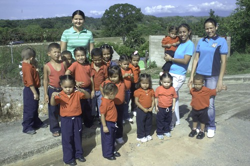 Children with the Andes in the background