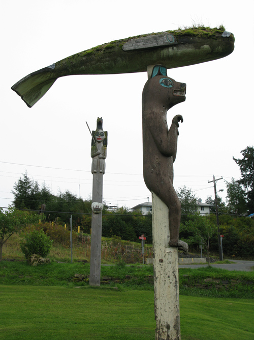 totem with humpback whale on bear, Klawock, Alaska