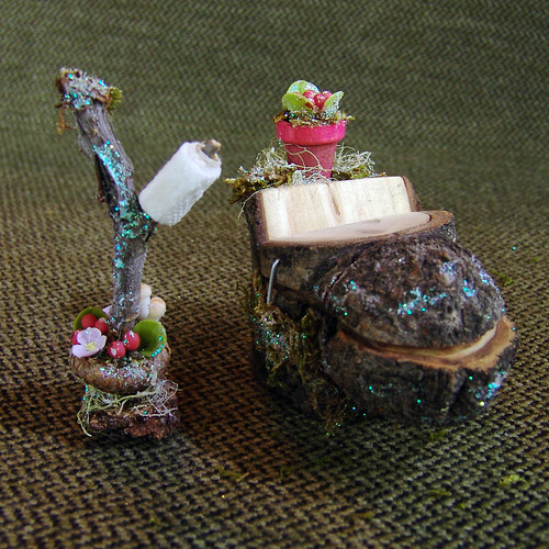 Miniature Fairy Toilet with Clay Flowers