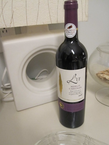 bottle of wine - a gift from James