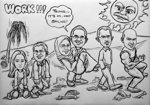 Caricatures for Morgan Stanley 3 in ink