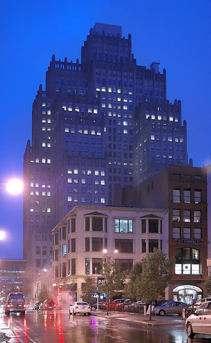 Old Southwestern Bell Building, in downtown Saint Louis, Missouri, USA - at dusk in the rain
