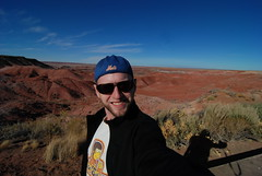 In front of the Painted Landscape of the Petrified Forest National Park, Navajo, Arizona