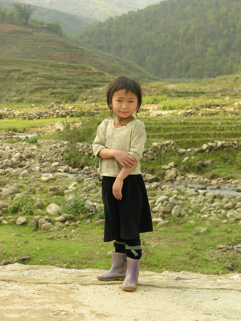 Girl, with purple boots