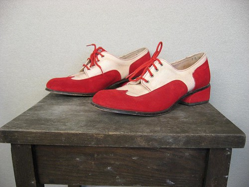 1970s red and white suede oxfords
