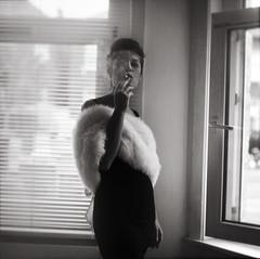 noir (Caroline Bonarde Ucci) Tags: 120 film girl beautiful fashion portraits fur model noir style smoking squareformat pentaconsix