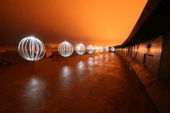 Orderly queue (- Hob -) Tags: lightpainting circle orb seawall sphere nophotoshop possible seafront blackpool lightball lightsphere lapp sooc orbage lightorb lightjunkies lightartperformancephotography