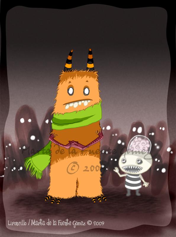 Monstruo con su amigo imaginario