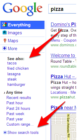 Google Search Options: See Also Results