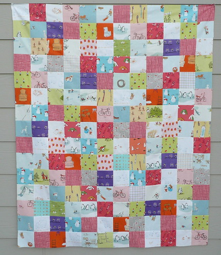 Munki flannel patchwork quilt top