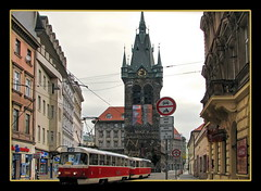 Prague Tram OOB (Mike G. K.) Tags: street old city morning tower clock architecture buildings geotagged prague bell tram spire czechrepublic outofbounds oob fram hernystower stherny geo:lat=50084515 geo:lon=14429279