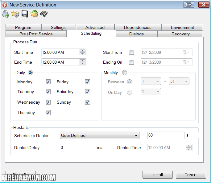 FireDaemon User Defined Scheduling